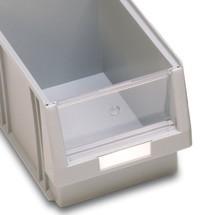 Sklo pre skladovacie krabice s otvorenou prednou časťou z polypropylénu