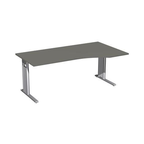 Skrivebord professionel, C-fod, PC form, byggehøjde justerbar