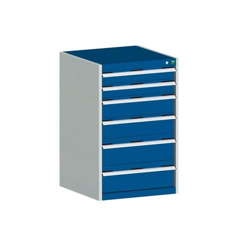 Skuffeskab bott cubio, skuffer 2x100+ 2x150 x 2x200 mm, belastningskapacitet hver 75 kg, bredde 1.300 mm