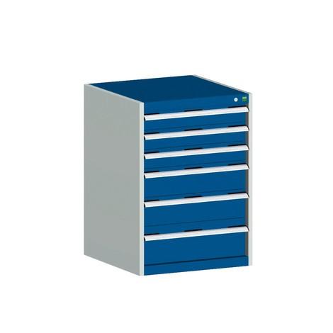 Skuffeskab bott cubio, skuffer 3x100+ 2x150 x 1x200 mm, belastningskapacitet hver 75 kg, bredde 800 mm