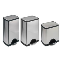SLIM pedal waste bin, stainless steel
