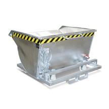 Späne-Kippbehälter, niedrige Bauhöhe, mit Einfahrtaschen, verzinkt