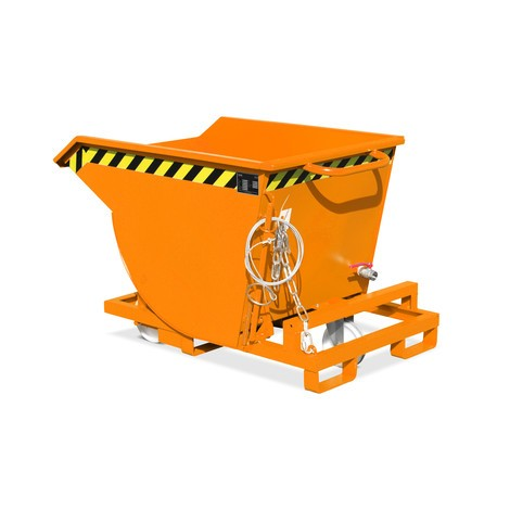 Spån-tippcontainer, låg design, med infartfickor, lackerade