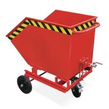 Spån-tippcontainer, tömningsmöjlighet på marknivå, lackerad, volym 0,6 m³, utan gaffeltruckfickor