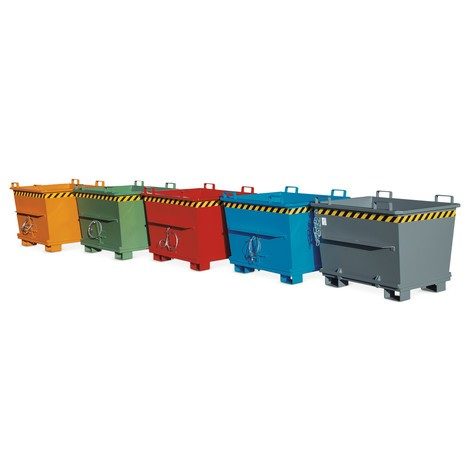 Stackable bottom release container, painted, volume 0.5 m³