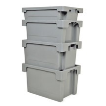 Stacking and nesting container, closed side walls and base