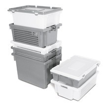 Stacking and nesting container, perforated side walls and base