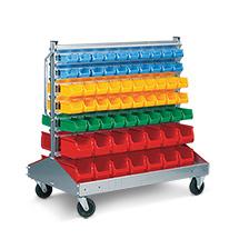 Ständerregal fahrbar, beidseitig bestückt mit insgesamt 128 Boxen