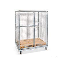 Stahl-Rollbehälter Antidiebstahl 1350 x 950 mm, blau verzinkt, Wahlweise mit 3 Seiten, 4 Seiten oder 4 Seiten mit Dach