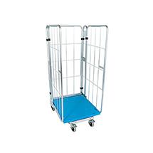 Stahl-Rollbehälter nestbar, Wahlweise 3-seitig oder 4 seitig, Mit Stahl- oder Kunstoffbodenplatte
