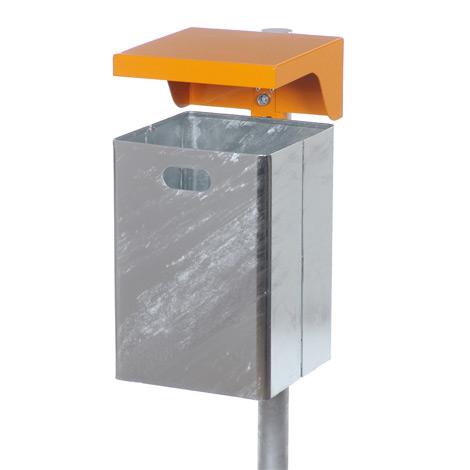 Stahlblech-Abfallbehälter mit Schutzdach, bis 50 Liter, mit und ohne Ascher