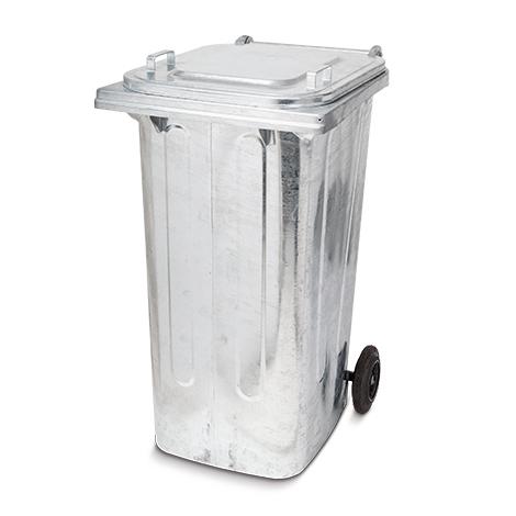 Stahlblech-Müllgroßbehälter. Feuerverzinkt. Volumen 120 oder 240 Liter.