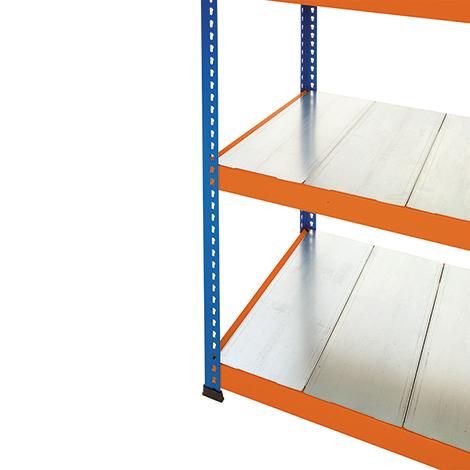 Stahlpaneele für Weitspannregal Stecksystem. Fachlast bis 350 kg, blau/orange