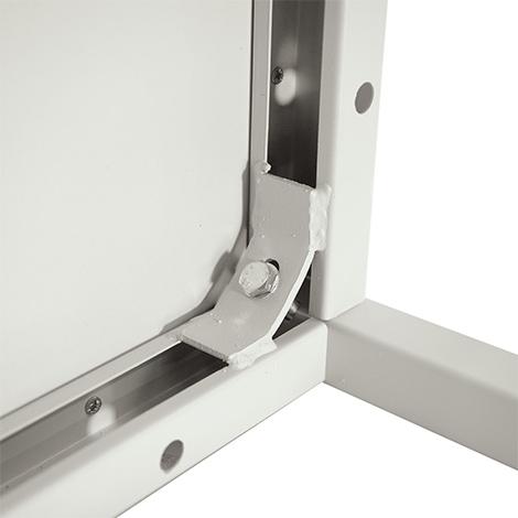 Stahlrohr-Schreibtisch inklusive Schubladenblock, lichtgrau