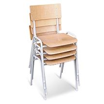 Stahlrohrstühle 4er Set. Sitzfläche Buche hell