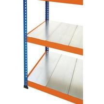 Stalen panelen voor grootvakstelling inhaaksysteem, blauw/oranje