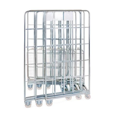 Stalowy pojemnik na kółkach BASIC z możliwością wsuwania jednego w drugi