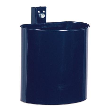 Stalowy pojemnik na odpady, 20 litrów, półokrągły, do montażu naściennego, nieperforowany, malowany proszkowo