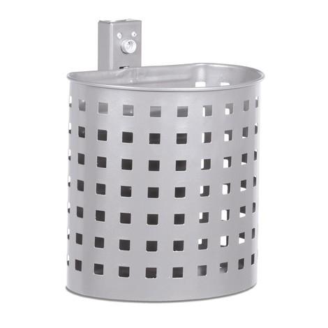 Stalowy pojemnik na odpady, 20 litrów, półokrągły, do montażu naściennego, perforowany, malowany proszkowo