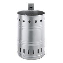 Stalowy pojemnik na odpady, 35 litrów, okrągły, do montażu naściennego, perforowany