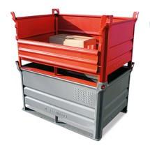 Stapelbak HESON ® met onderlatten + gesloten wand. Capaciteit 500 kg
