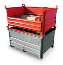 Stapelbehälter HESON ® mit Kufen + Vollwand. Tragkraft 500 kg