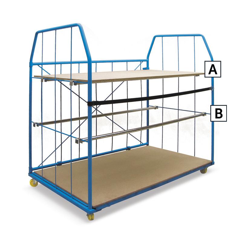 Stapelbox Einhängeboden A, in 3 Größen inkl. Trägerkonstruktion