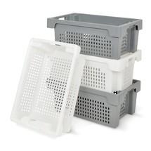 Stapelcontainer van polyethyleen. Wanden + bodem opengewerkt