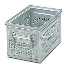 Stapelkasten aus Stahlblech mit 10 mm Ø-Lochung