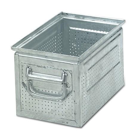 Stapelkasten aus Stahlblech, mit feiner Lochung