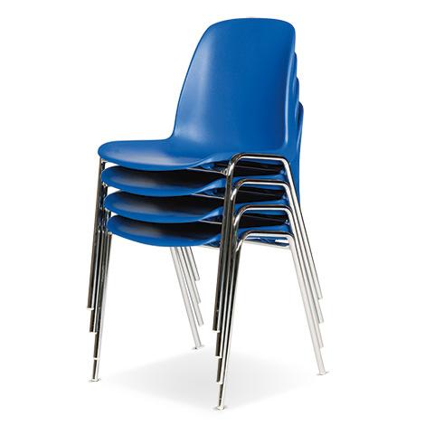 Stapelstuhl BASIC Set: 4 Stühle mit Vierfußgestell aus Rundrohr