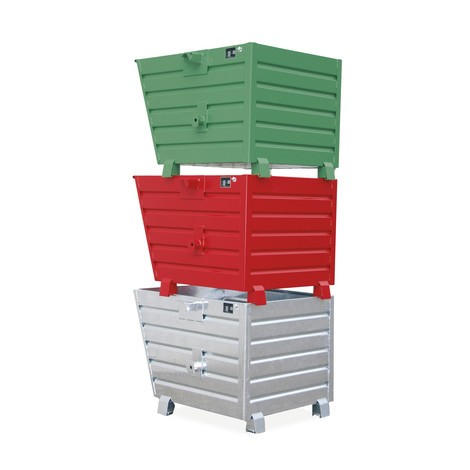 Staplingsbar tippcontainer, lackerad, volym 0,7 m³