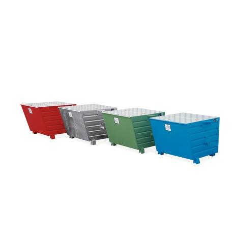 Staplingsbar tippcontainer, lackerad, volym 1,5 m³