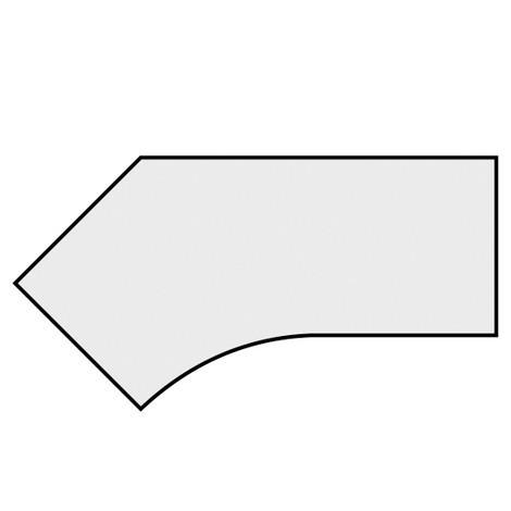 Stationær skrivebord, C-fod, friform 135°