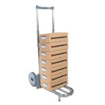 Steekwagen van aluminium buis. Capaciteit 75 kg, steek 42,5 x 22 cm