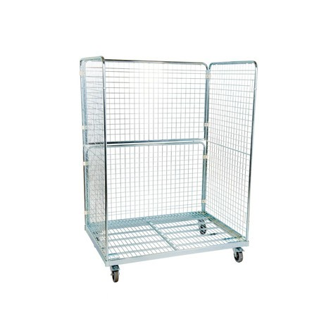 Steel roll container in euro dimensions, 3-sided