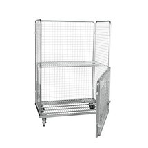 Steel roll container in euro dimensions, 4-sided with folding front wall