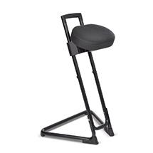 Stehhilfe mit schwenkbarem Sitz, ergonomisch geformt, aus Kunstleder