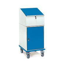 Stehpult fetra® mit Rädern und Flügeltürschrank, 600 x 500 mm (LxB)