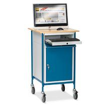 Stehpult fetra®, mit verschließbarem Schrank und Tastaturablage, fahrbar