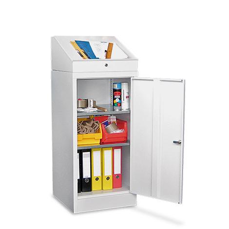 Stehpult PAVOY mit Aufsatz, 1 Schublade + 2 Einlegeböden im Schrank