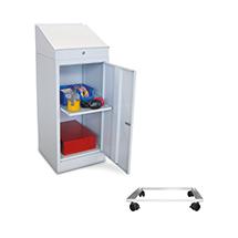 Stehpult PAVOY mit Fahrrahmen. 1 Ausziehboden + 1 Schublade im Schrank