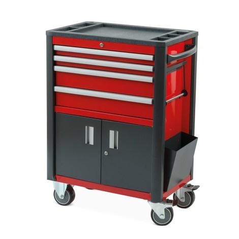 Steinbock® tool trolley, heavy-duty version, double door + 4 drawers
