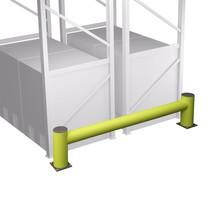 Stelling-aanrijbeveiliging kunststof, enkele balk, lengte naar keuze 1100 of 2400 mm