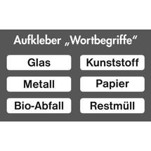 Sticker sæt med indskrift til affaldssorteringsbeholder stumpf®