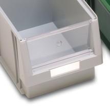 Štítky pre skladovacie škatule s otvorenou prednou časťou z