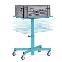 Stojak materiałowy Ameise®. Udźwig 150 kg. Wymiary 606 x 406 mm. Regulowana wysokość 500 - 770 mm.