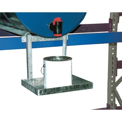 Stojak na pojemniki do regałów na beczki z wanną ociekową, ocynkowany