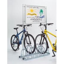Stojak na rowery z powierzchnią reklamową z systemem Quick-Clip