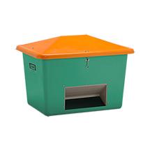 Streugutbehälter  mit Entnahmeöffnung, grün/orange, bis 1100 L